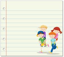Linjepapper med barn som spelar piggy back ride i bakgrunden vektor