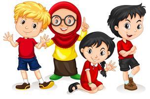 Grupp av internationella barn vektor