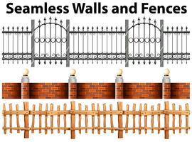 Nahtlose Wände und Zäune vektor