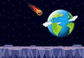 En meteor kommer till planeten jorden vektor