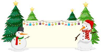 Snögubbe och julgran pappersram vektor