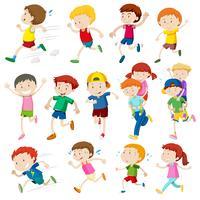 Einfache Charaktere von Kindern, die laufen vektor