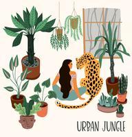 Großstadt-Dschungel. Vektorillustration mit modischem Hauptdekor.