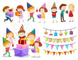 En uppsättning firande barn