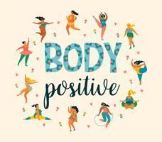 Körper positiv Happy Plus Size Girls und aktiver gesunder Lebensstil.