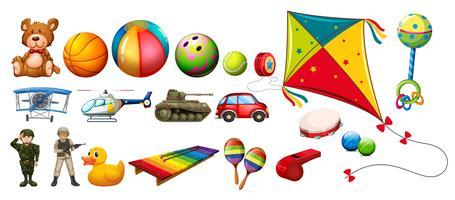 Set med många färgglada leksaker