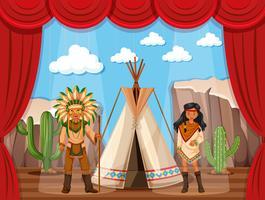 Amerikansk indian och teepee på scenen