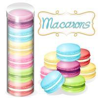 Macaron i plastbehållare