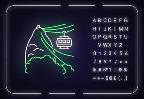 Seilbahn-Neonlicht-Symbol vektor