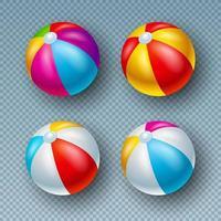 Vektor-Illustration mit bunten Beach Ball Sammlung auf transparentem Hintergrund isoliert Vektor-Feiertags-Design-Elemente mit aufgeblasenem Wasserball-Set vektor