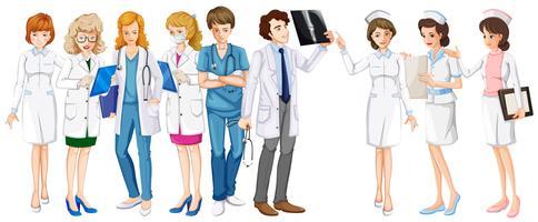 Manliga och kvinnliga läkare och sjuksköterskor vektor