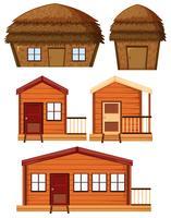 Set aus Holzhaus vektor