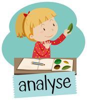 Wordcard für analysieren mit dem Mädchen, das Blätter betrachtet