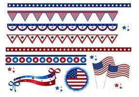 4 juli flaggor och gränser vektorpaket vektor