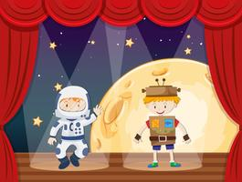 Astronaut und Roboter auf der Bühne vektor
