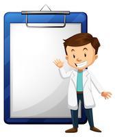 Läkare och tom pappersmall vektor