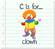 Der Flashcard-Buchstabe C steht für Clown vektor