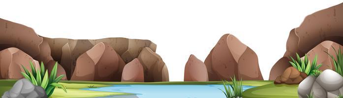 Hintergrundszene mit Teich und Berg