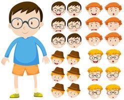 Pojke och olika ansiktsuttryck vektor