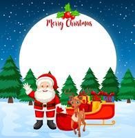 Karte der frohen Weihnachten mit Sankt und Ren