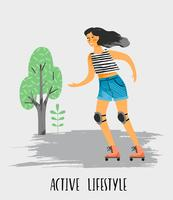 Vektor illustration av kvinna i rullskridskor. Hälsosam livsstil.