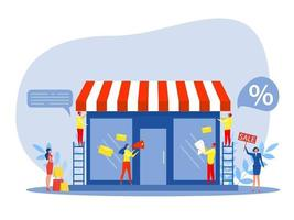 Franchise-Shop-Geschäft, Leute einkaufen und kleine Franchise starten vektor