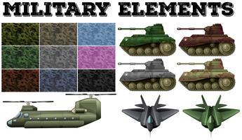 Militärisches Thema mit Fliesen und Panzern vektor