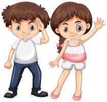 Pojke och tjej med gott ansikte vektor