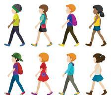 Ansiktslösa barn som går
