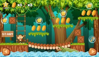 Affe im Dschungel Spielvorlage vektor