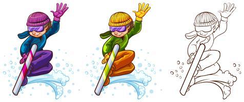 Man på snowboard i tre olika ritstilar