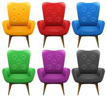 En uppsättning färgstarka stolar