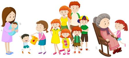 Menschen in verschiedenen Altersstufen in der Familie vektor