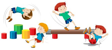 Jungen, die auf Spielplatzgeräten spielen vektor