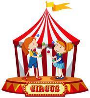 Tjejer jonglering på cirkus tält vektor