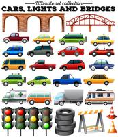 Olika typer av bilar och föremål på väg