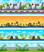 Fyra bakgrundsscenarier med byggnader och natur vektor