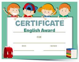 Certifikatmall med glada barn vektor