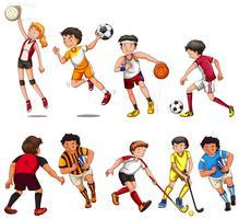 Man och kvinna spelar olika slags sport vektor