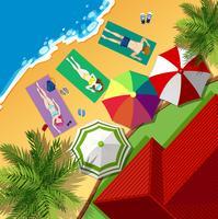 Strandplats med människor sola vektor