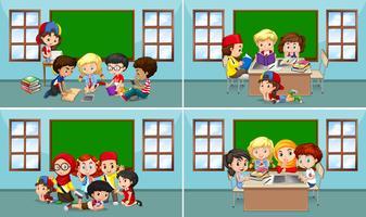 Kinder arbeiten im Klassenzimmer vektor