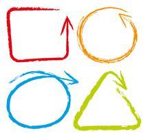 Doodles Linie in vier Farben vektor