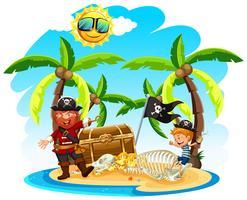 Pirat und ein Junge auf der Insel vektor