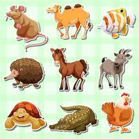 Aufkleberentwurf für viele Tiere