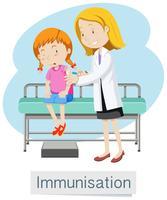 Ein Mädchen, das Impfstoff mit Doktor hat vektor