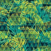 Nahtloses exotisches Muster mit Palme auf geometrischem Hintergrund.