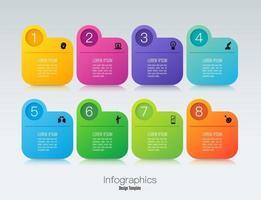 Infografik-Design und Icons mit 8 Schritten vektor