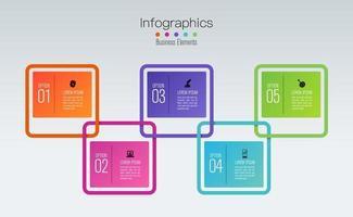 Infografik-Design und Icons mit 5 Schritten vektor