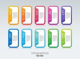 Infografik-Design und Icons mit 10 Schritten vektor