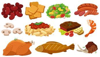 Olika typer av mat och ingredienser